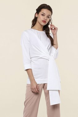 Femella White Solid Front Knot Top