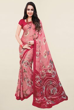 Salwar Studio Pink Floral Print Satin Silk Saree