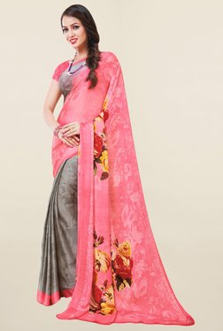 Salwar Studio Grey & Pink Floral Print Satin Silk Saree