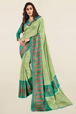 Salwar Studio Green Printed Pattu Silk Saree