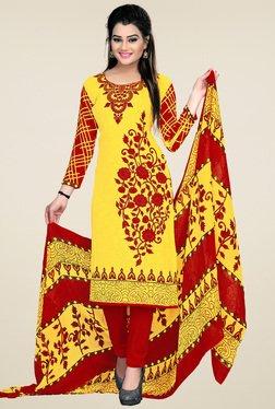 Ishin Yellow & Maroon Printed Dress Material