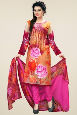 Ishin Pink & Brown Floral Dress Material