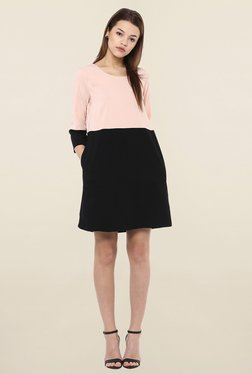 Femella Blush & Black Above Knee Block Dress