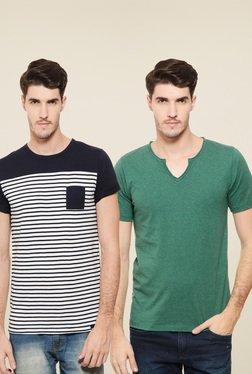Rigo White & Green Slim Fit T-Shirt (Pack Of 2)