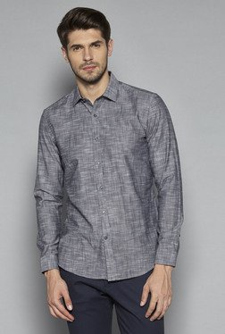 Ascot By Westside Grey Textured Slim Fit Shirt