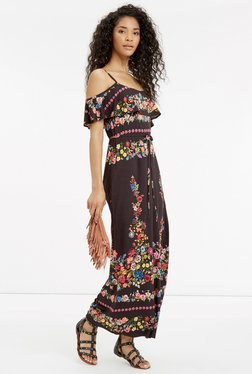 Oasis Brown Floral Print Maxi Dress