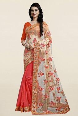 Thankar Coral & Orange Embroidered Net Georgette Saree