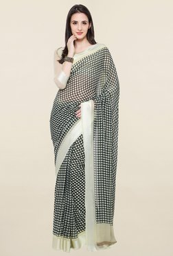 Touch Trends Black Polka Dot Georgette Saree