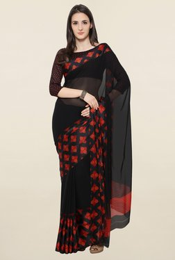 Touch Trends Black Printed Georgette Saree