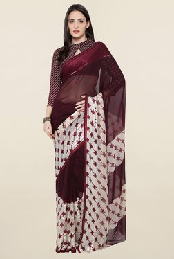 Touch Trends Wine Printed Georgette Saree