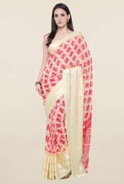 Touch Trends Cream Printed Georgette Saree