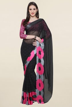 Touch Trends Black Checks Georgette Saree