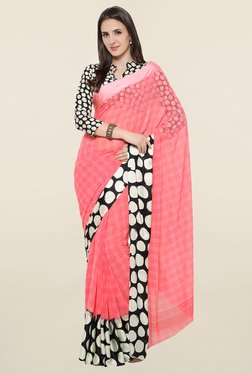 Touch Trends Peach Checks Georgette Saree