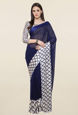 Touch Trends Navy Printed Georgette Saree