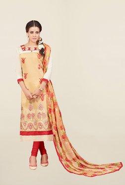 Thankar Beige & Red Embroidered Cotton Silk Dress Material