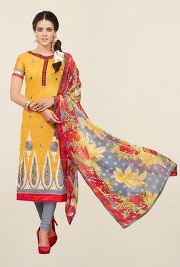 Thankar Yellow & Grey Cotton Silk Dress Material