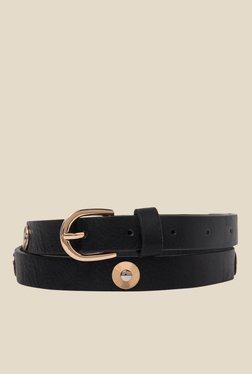 Vero Moda Blossom Black Textured Narrow Belt
