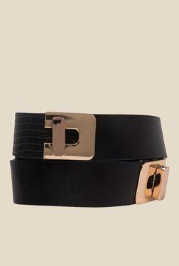Vero Moda Ebony Black Textured Narrow Belt