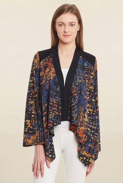 Blue Sequin Multicolor Printed Shrug