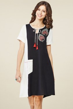 Global Desi Black & White Round Neck Tunic Top