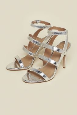 Kurt Geiger July Silver Ankle Strap Stilettos
