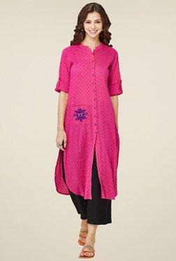 Global Desi Pink Mandarin Collar Kurta