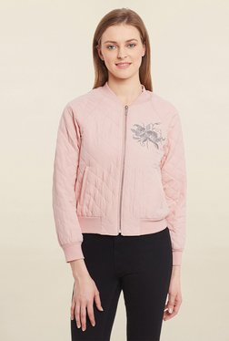 Blue Sequin Peach Embroidered Bomber Jacket