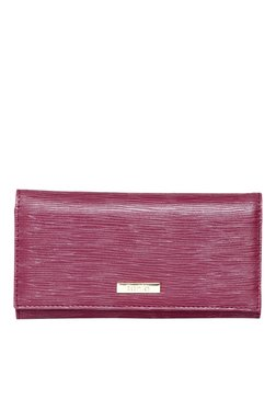Toniq Katie Maroon Textured Flap Wallet