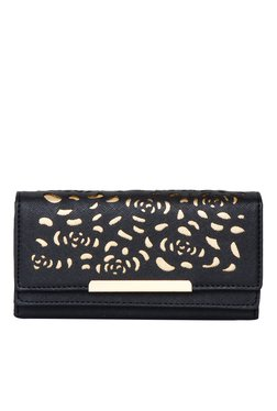 Toniq Black Laser Cut Tri-Fold Wallet