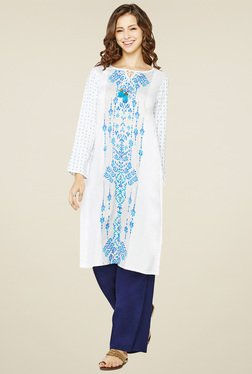 Global Desi White Round Neck Kurta