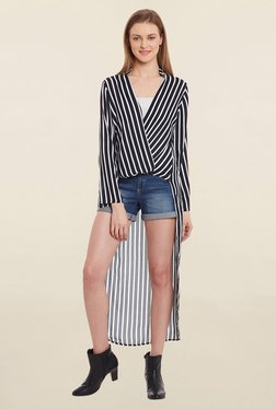 Blue Sequin Black & White Striped Tunic