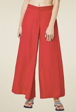 Global Desi Red Straight Fit Palazzo