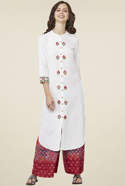 Global Desi White Round Neck Printed Kurta