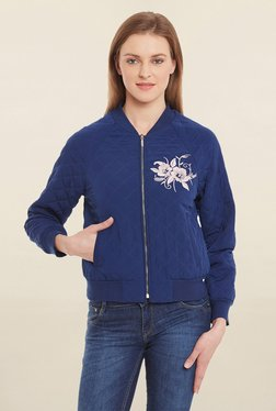 Blue Sequin Navy Embroidered Bomber Jacket