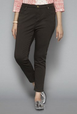 Gia By Westside Olive Solid Trousers