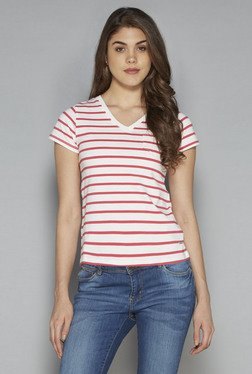 LOV By Westside Pink & White Striped T Shirt