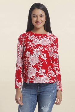 Only Red Floral Print Top