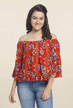 Only Orange Floral Print Top