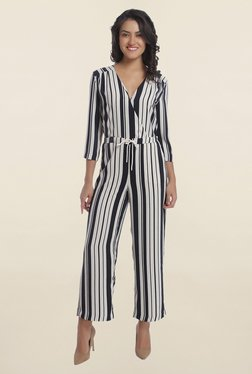 Only Black And White Striped Crossover Front Jumpsuit