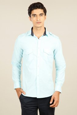 Provogue Ice Blue Full Sleeves Cotton Shirt