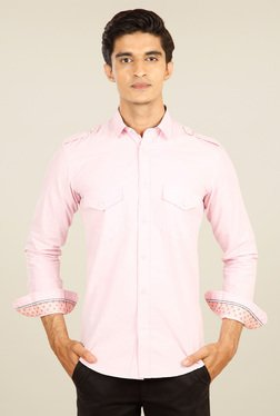 Provogue Pink Cotton Full Sleeves Shirt