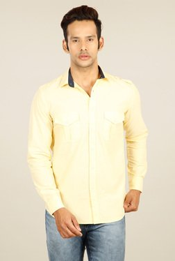 Provogue Yellow Cotton Full Sleeves Shirt