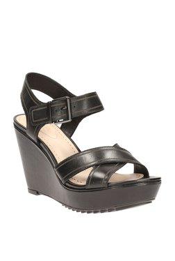 df4cbdc953ce Clarks Scent Sky Black Ankle Strap Wedges
