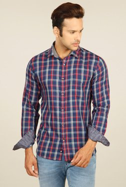Provogue Navy & Red Slim Fit Shirt