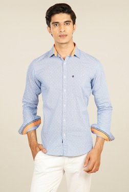 Provogue Light Blue Full Sleeves Printed Shirt