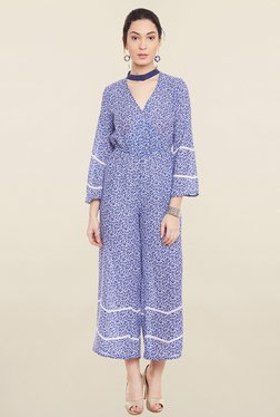 Global Colours Blue Floral Print Jumpsuit