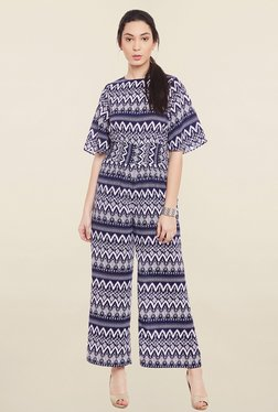 Global Colours Navy & White Printed Jumpsuit