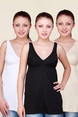 Floret White, Black & Beige Solid Camisole (Pack Of 3)