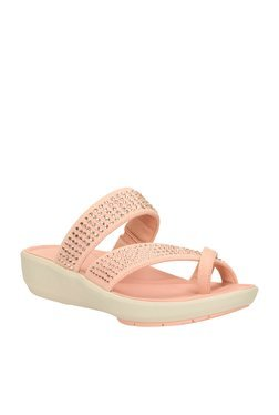Clarks Wave Bright Rose Peach Toe Ring Wedges
