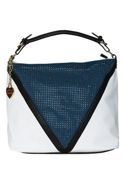 Toniq Geo White And Teal Embellished Hobo Bag